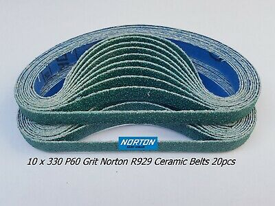10 X 330 P60 Grit Norton Zirconia Sanding Belts 20Pcs  For 10Mm Air Belt Sander