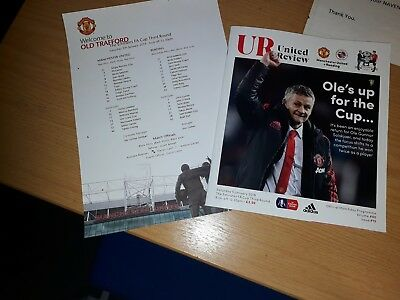 Manchester United v Reading FA Cup Programme,Teamsheet 05.01.19