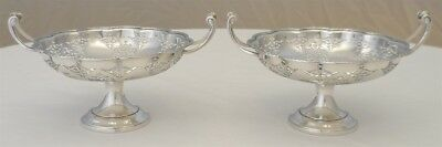 Pretty Pair Comports; English Solid Sterling Silver B.1927, 129g.