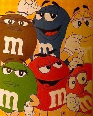 m & m's Character's Yellow Blue Red Ms Green Orange Mrs. Brown Blanket NEW