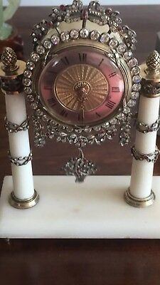 Antique 19th Century Solid Silver Hard Stone French Miniture Clock Circa,1899