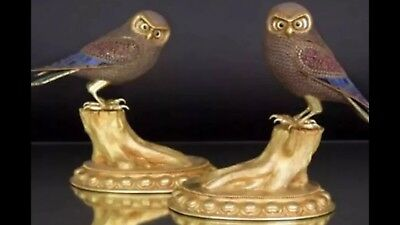 ANTIQUE 19thC MEIJI CHINESE SOLID SILVER, JEWELLED OWLS c1890