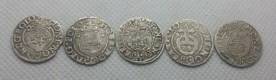 Lot 5pcs. ANCIENT COINS OF EUROPE 1.5 GROSH SILVER 1621-25 year 1/24 Thaler #393