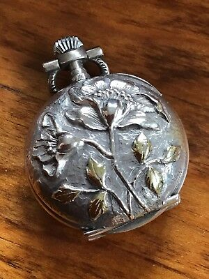 French Sterling SILVER Gold Art Nouveau Chatelaine Pocket Watch PENDANT Floral