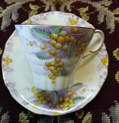 Paragon Double Royal Warrant Acacia Tea Cup and Saucer Yellow Flowers 1930's