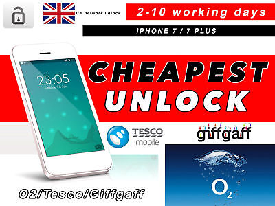 IPHONE 7 and IPHONE 7 PLUS UNLOCK SERVICE FOR O2 UK/TESCO UK  PERMANENT
