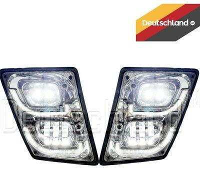 New Volvo VNL True LED Chrome Fog Light plus LED Trim Set | Pair | (LH+RH)