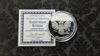 Rare Bitcoin Anonymous Owl Commemorative 1 Oz Silver Proof Round Capsule & Coa