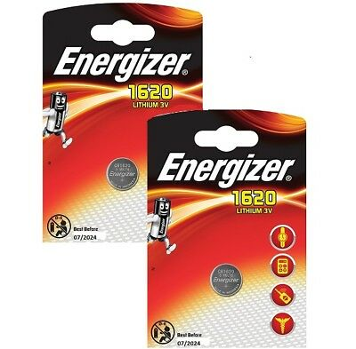 2X ENERGIZER 1620 CR1620 DL1620 Lithium 3V Coin Cell  Free 1st Class post UK