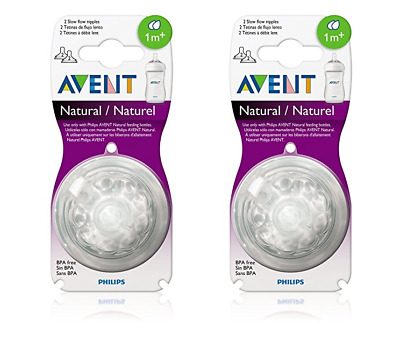 Philips AVENT BPA Free Natural Nipple Shape, Slow Flow 1m+, 2 Count (2 Pack)