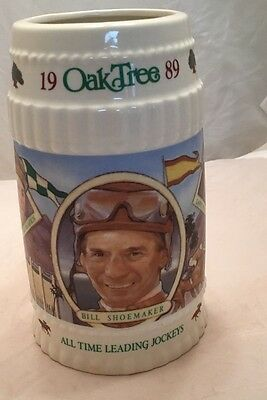 1989 Oak Tree Santa Anita Park Limited Edition Stein Horse Racing Jockey Ec