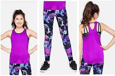 Justice Girls  Active Wear Performance 2fer Tank Print Mesh Leggings 6/7