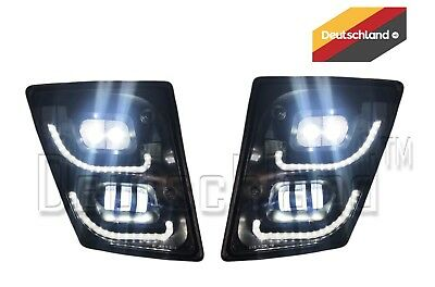 New Volvo VNL True LED Black Fog Light plus LED Trim Set | Pair | (LH+RH)