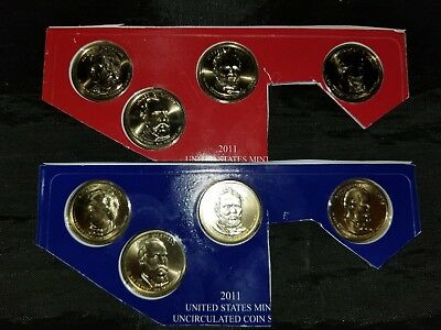 2011 P & D Presidential Dollar 8 Coin Set Lot Sealed Uncirculated Mint Cello