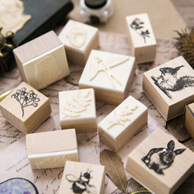 Stationery Plants Animal Cards Decor Scrapbooking Wooden Rubber Stamp Painting