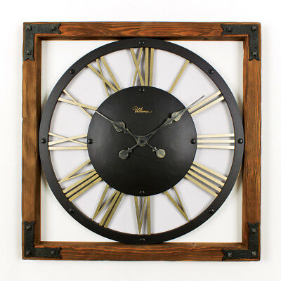 Aged Wooden And Rustic Metal  Wall Clock by Regal