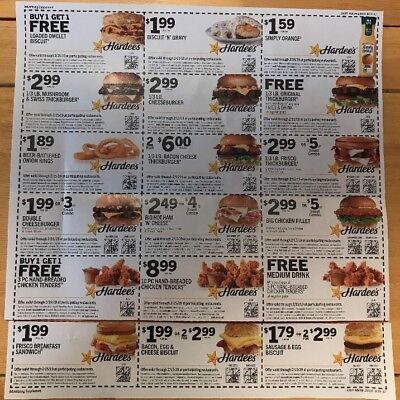 HARDEES COUPONS (54) exp 2/15/19