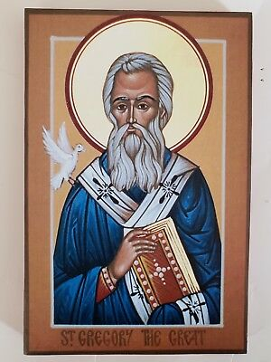 """Saint Gregory the Great Pope of Rome,  Orthodox Icon,  Size """"6, 12/16 X 10,5/16"""""""