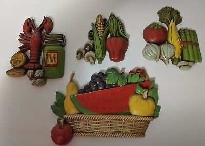 HOMECO and DART Fruit, Vegetable Wall Decor Kitchen Wall Decor 4 Pieces