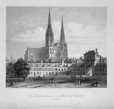 1850 Chartres Kathedrale cathedral Frankreich France Stahlstich steel engraving