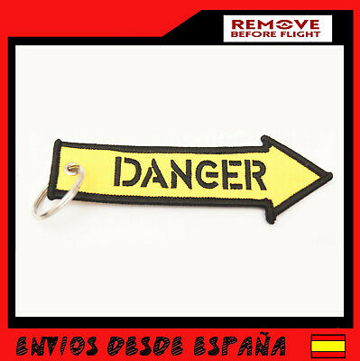 DANGER REMOVE BEFORE FLIGHT Llavero aviacion Tela Rojo Avion  Peligro