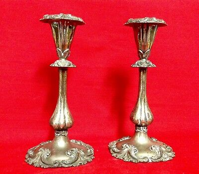 """Antique Pair Of Very Decorative Silver Metal Candlesticks, Height 9"""" (23cm)"""