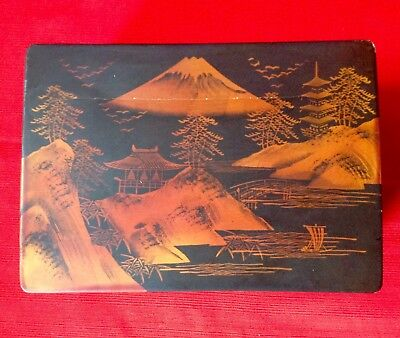 Vintage Japanese Lacquered Musical Jewellery Box, Hand Decorated