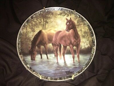 1 Watering Hole Horse Collector Plate Chuck DeHaan Galloping Glory Bradford Exch