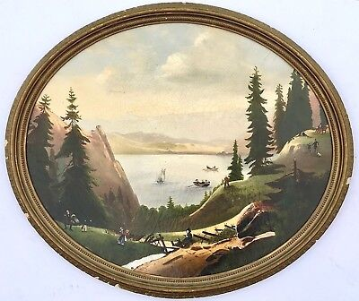 19th Century Hudson River School Folk Art Landscape Painting c. 1820s-40s