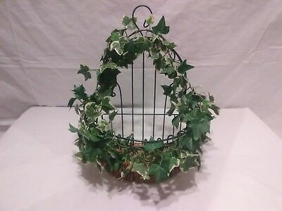 Vintage Wire Wall Basket Cottage Shabby Chic Garden Decor )(*^@@F1