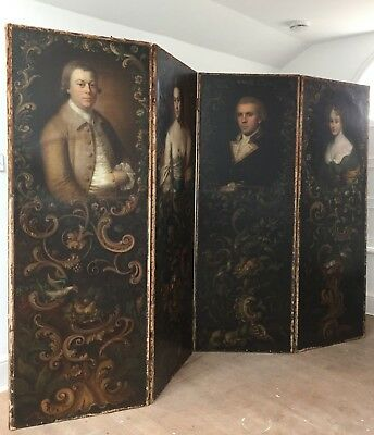 ANTIQUE fine and rare early C19th screen set with four C18th oil portraits