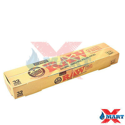 RAW Classic Unbleached Cone 1 1/4 Size Pre-Rolled Cones with Filter - 32 Cones