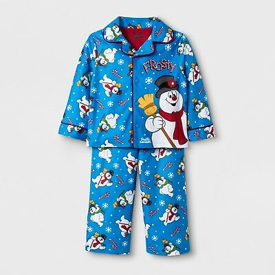 Toddler Boys Frosty The Snowman 2 Piece Button Up Blue Holiday Christmas  Pajamas 924c118da