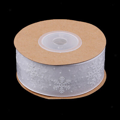 10 Meters White Sheer Snowflake Ribbon Lace Trim for Xmas Gift Wrapping 25mm