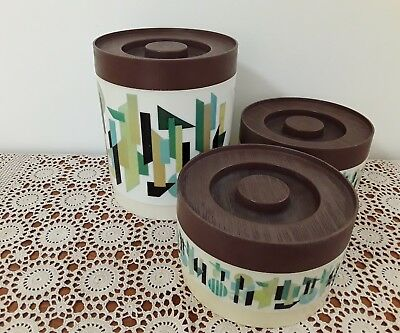 3 x  Vintage Willow Kitchen Canisters Geometric Stackable