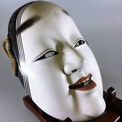 JAPANESE POTTERY MASK Noh VINTAGE OLD KABUKI Japan Beauty RARE Tradition 583h