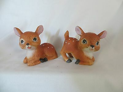 Homco Porcelain Fawns Baby Deer Figurine Set 2