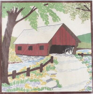 """VTG Crewel Embroidery Kit """"COVERED BRIDGE"""" Crewel Picture or Pillow Top 14""""x14"""""""