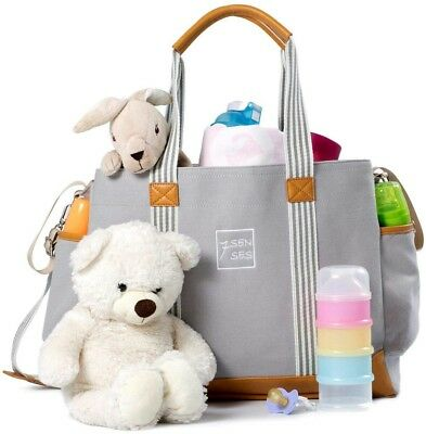 $40 Diaper Bag for Girls Boys Large Baby Nappy Tote Grey Pockets Stroller Straps