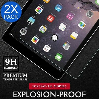 2X Tempered Glass Screen Protector Film for Apple iPad 2 3 4 5 Air Mini Pro 12.9