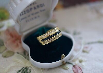 Vintage Art Deco Jewellery Gold Band Ring with Blue Sapphires Antique Jewelry