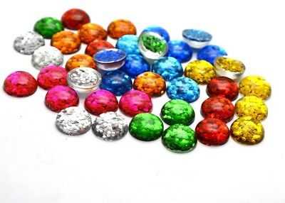 40pcs 12mm Mixed Colors Flat back Glitter Resin Cabochons Cameo Jewelry Findings