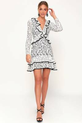 f0d54c0412e KEEPSAKE - Encore Ivory Lace Ruffled Long Sleeve Dress Revolve Lulus - Med- NWT