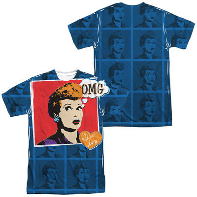 3622268c Authentic I Love Lucy TV Show OMG Lucille Ball Sublimation Front Back T- shirt