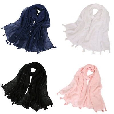 Women Cotton Long Scarf Muslim Sequin Shawl Tassel Headwear Arab Hijab Scarves