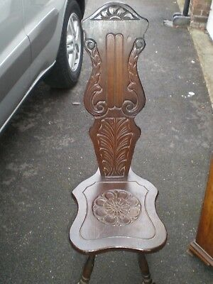 antique english Solid Oak Carved Spinning Chair.