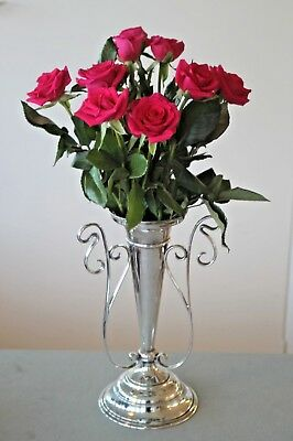 Vintage silver plated tall decorative trumpet vase