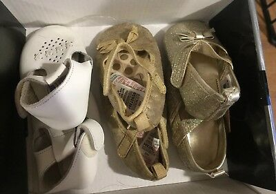 702998d20f20 Baby Girl Shoes 3 Pairs Bundle Gold Sparkly Cream Size 1 2 6-12 Months
