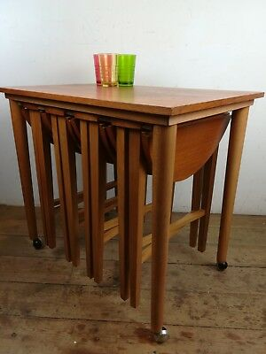 Mid century Teak coffee occasional tables folding side old