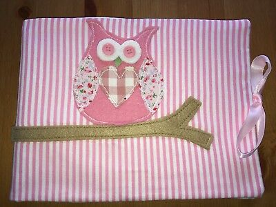 Handmade Baby Health Record Book Cover for the Red NHS Book - Pink Owl